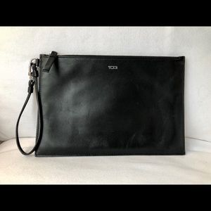 Tumi Black Leather Wristlet